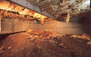 Crawl Space Moisture Barrier before in Greensboro