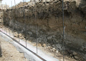 Soil layers exposed while excavating to construct a new foundation in Marion