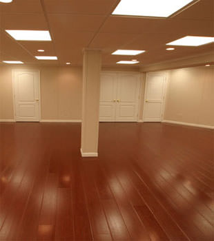 Rosewood faux wood basement flooring for finished basements in Greensboro